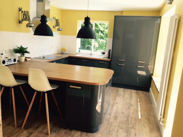 Mi L�mpara colgante de f�brica edici�n negra en la cocina nueva!