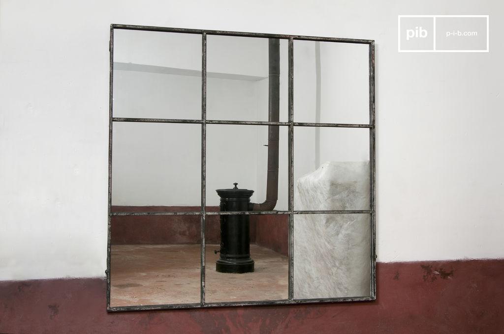 Espejo cuadrado de 9 paneles marco blanco de metal pib for Espejos decorativos cuadrados