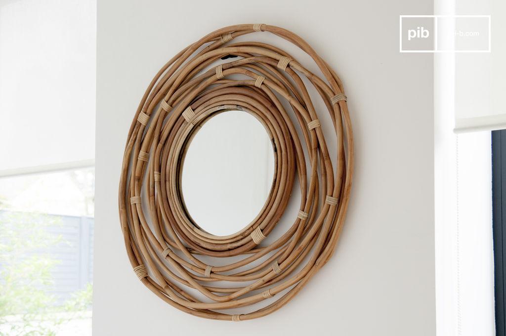 Espejo linn a marco espiral de mimbre hecha a mano pib - Espejos de mimbre ...