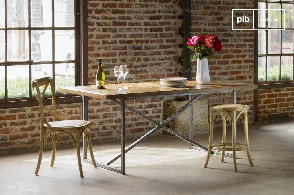 Mesa de comer queens hojas de madera maciza pib for Mesas industriales vintage