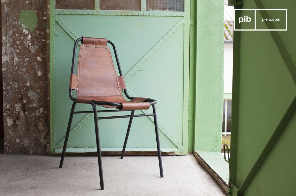 Silla bergson cuero y metal para una hermosa combinaci n - Cuero para tapizar sillas ...