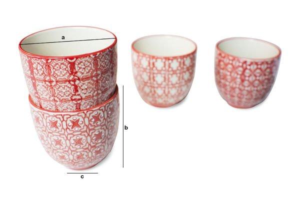 Dimensiones del producto 4 tazas de café Kennedy