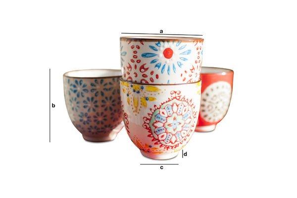 Dimensiones del producto 4 tazas expreso Tzigane