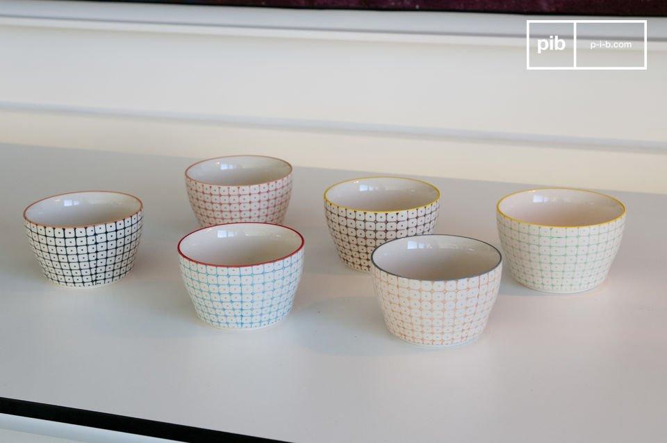 6 tazas de cerámica pintadas a mano, para servir a sus postres, té, o café en su mesa de centro