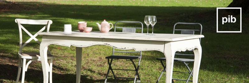 Antigua colección de mesas de comedor de madera shabby chic