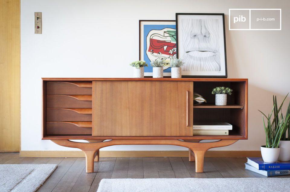 Un buffet de madera con líneas vintage escandinavas en curvas y contra-curvas