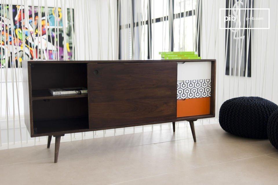 Un mueble de almacenamiento con todo el diseño nórdico