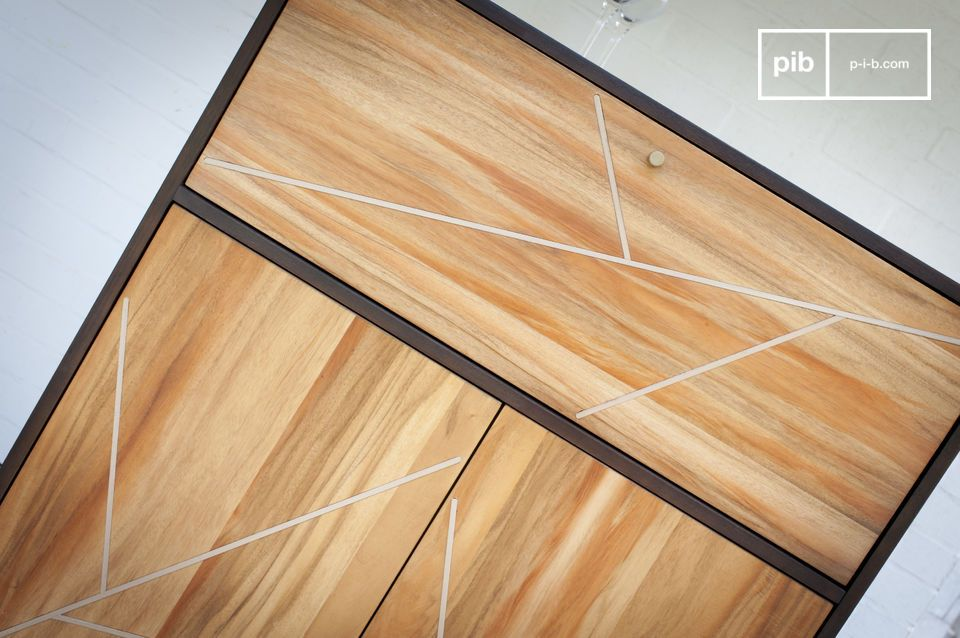 El armario de madera de Linéa muestra una estética muy gráfica