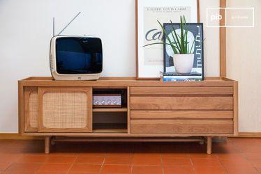 Armario de TV en roble claro Aarne
