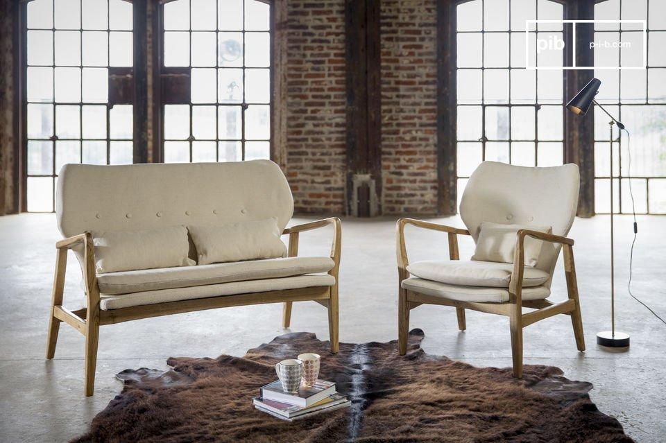 Este asiento al estilo escandinavo de la mitad del siglo 20es una verdadera invitación al confort