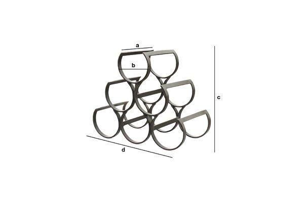 Dimensiones del producto Botellero para vinos de metal