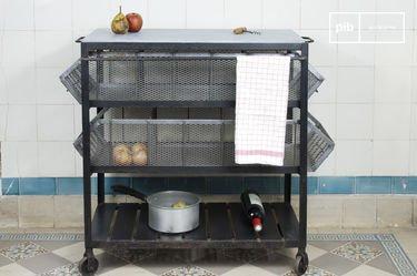 Carrito de almacenamiento de cocina Piedra Azul