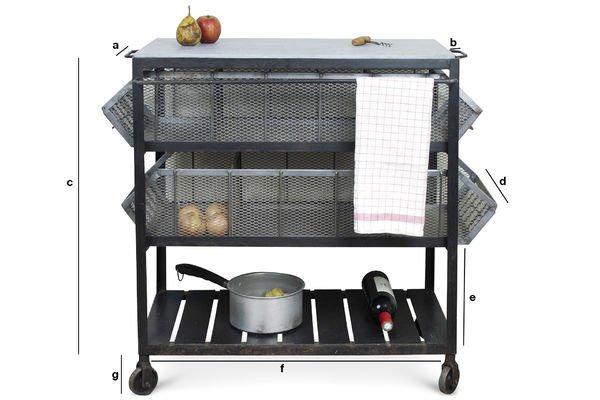 Dimensiones del producto Carrito de almacenamiento de cocina Piedra Azul