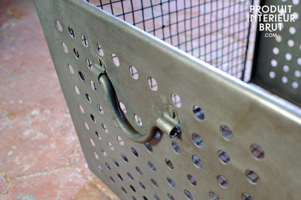 Cesta de alambre de malla con inspiración industrial