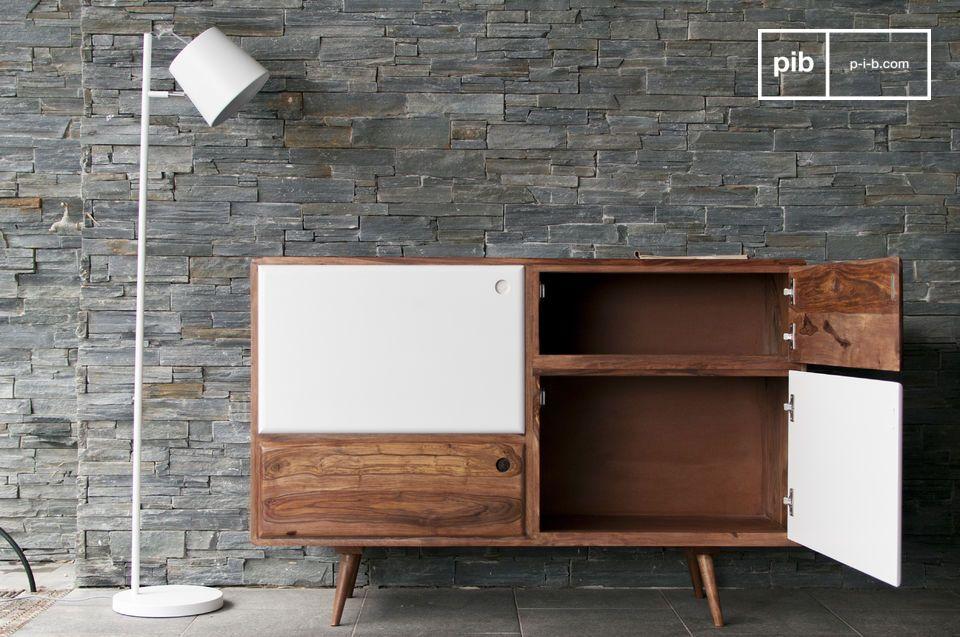 Una cómoda de madera que combina líneas rectas y bordes curvos