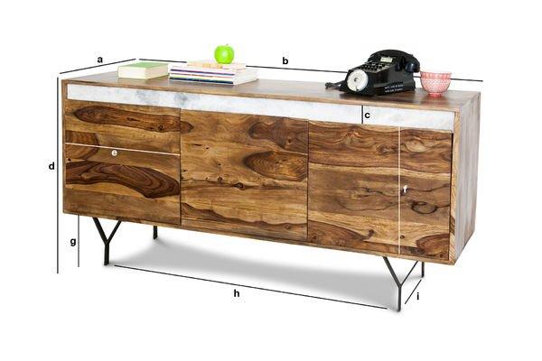 Dimensiones del producto Cómoda de madera Mabillon
