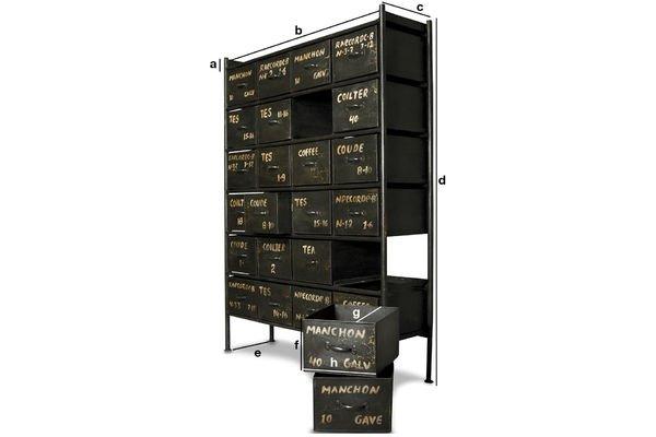 Dimensiones del producto Cómoda de taller con 24 cajones