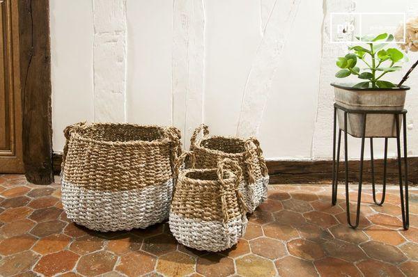 Conjunto de tres cestas de mimbre de calabazas