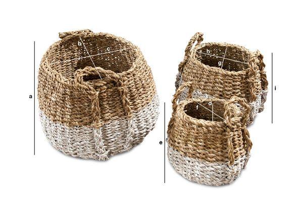Dimensiones del producto Conjunto de tres cestas de mimbre de calabazas