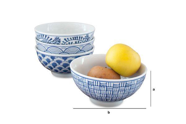 Dimensiones del producto Cuatro Bols de Porcelana Blue Lagoon