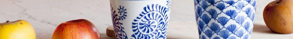 Descriptivo Materiales  Cuatro Tazas de Porcelana Blue Lagoon