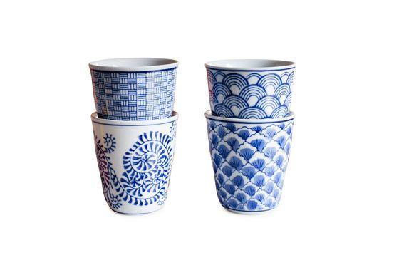 Cuatro Tazas de Porcelana Blue Lagoon Clipped