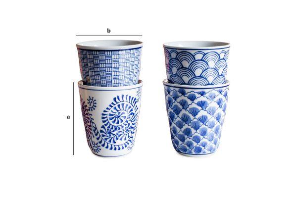 Dimensiones del producto Cuatro Tazas de Porcelana Blue Lagoon