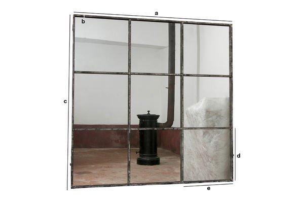 Dimensiones del producto Espejo cuadrado de 9 paneles