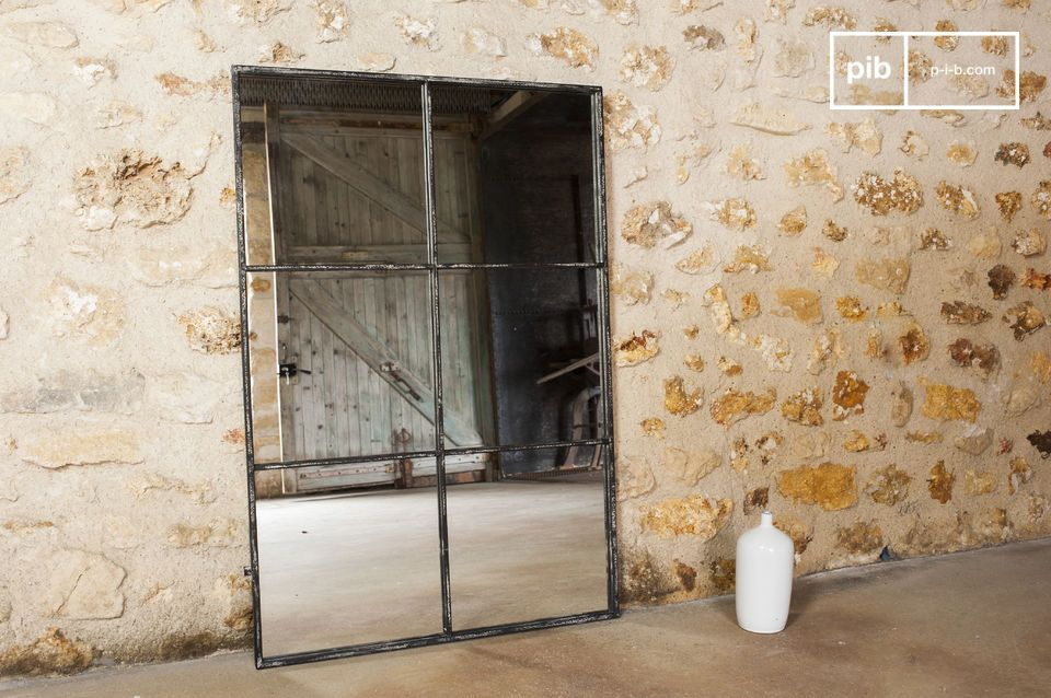 espejo de 6 secciones metal gris brillante pib. Black Bedroom Furniture Sets. Home Design Ideas