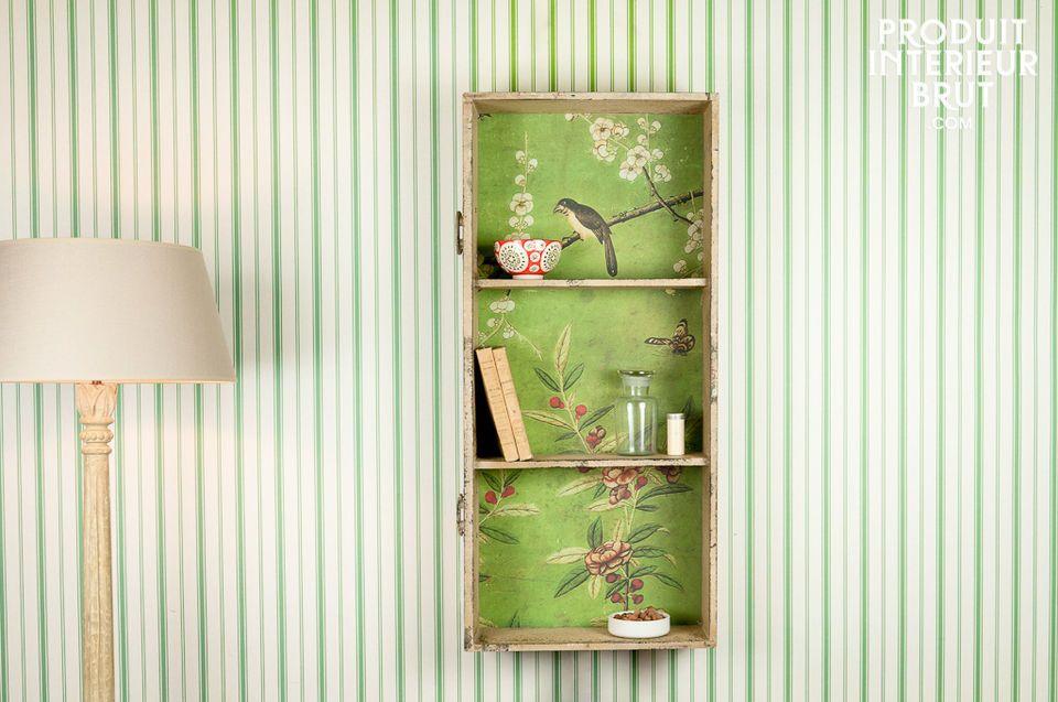 Esta estantería de pared está hecha de un cajón reutilizado