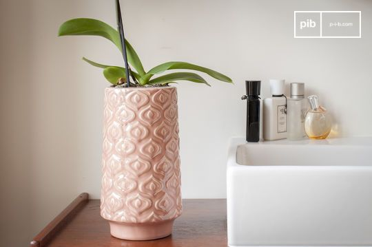 Jarrón de cerámica rosa Aurore