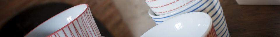 Descriptivo Materiales  Juego de 6 tazas de porcelana Grite