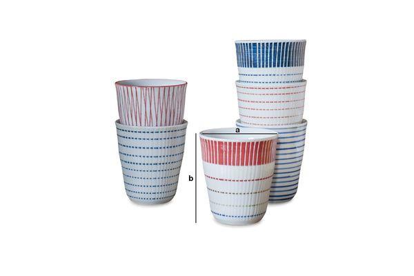 Dimensiones del producto Juego de 6 tazas de porcelana Grite