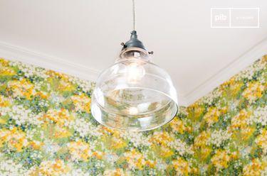 Lámpara colgante con vidrio en forma de cono