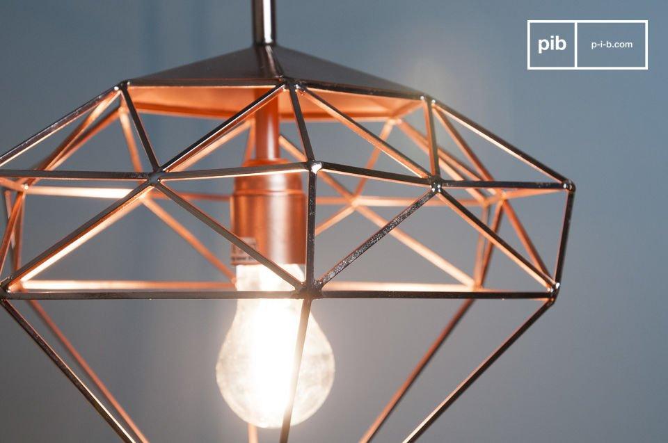 Lámpara color cobre con forma de diamante