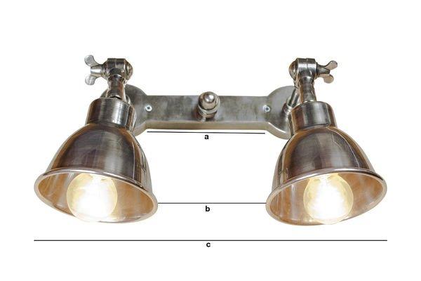 Dimensiones del producto Lámpara de pared doble plateada