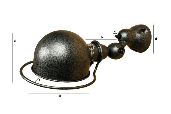 Dimensiones del producto Lámpara de pared Jieldé Loft con acabado martillado