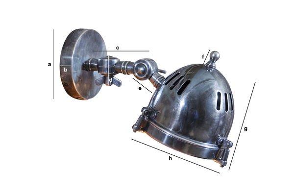 Dimensiones del producto Lámpara de pared tipo faro plateada