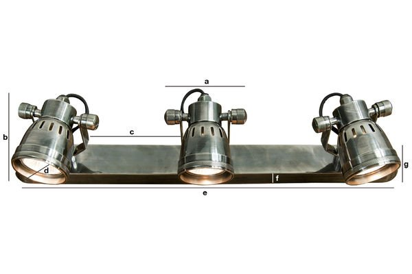 Dimensiones del producto Lámpara de pared triple bistró