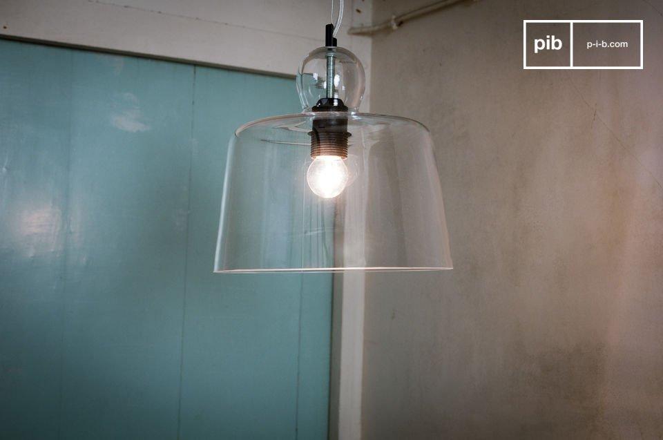Lámpara de suspensión con campana de cristal