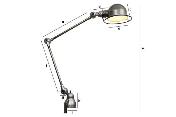 Dimensiones del producto lámpara Jieldé Loft con agarradera