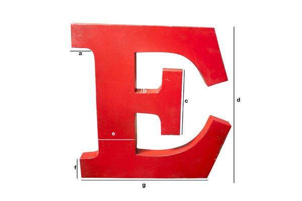 Dimensiones del producto Letra decorativa E