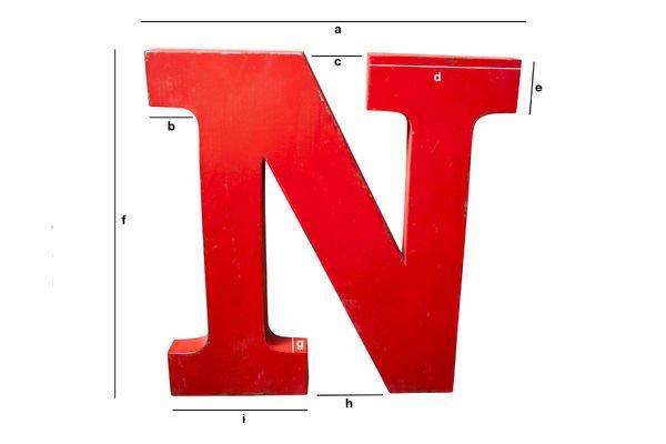 Dimensiones del producto Letra decorativa N