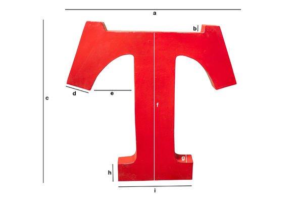 Dimensiones del producto Letra decorativa T