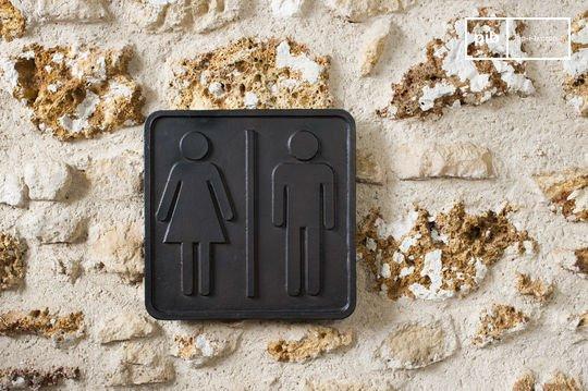 Letrero WC hecho de bronce