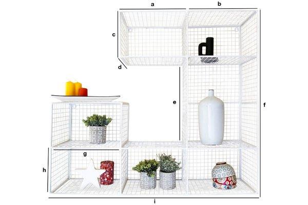 Dimensiones del producto Librería mural Blanche Rosa
