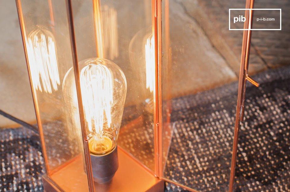 Vidrio y cobre para una lámpara con finura