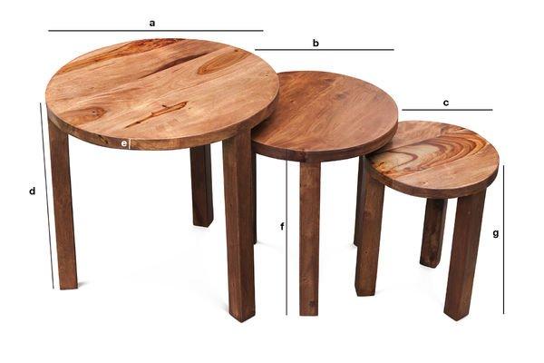 Dimensiones del producto Mesa apilable de 3 piezas Roza