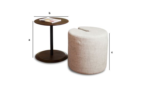 Dimensiones del producto Mesa auxiliar Pouf Victor