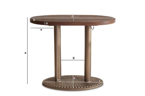 Dimensiones del producto Mesa consola oval Old Washington